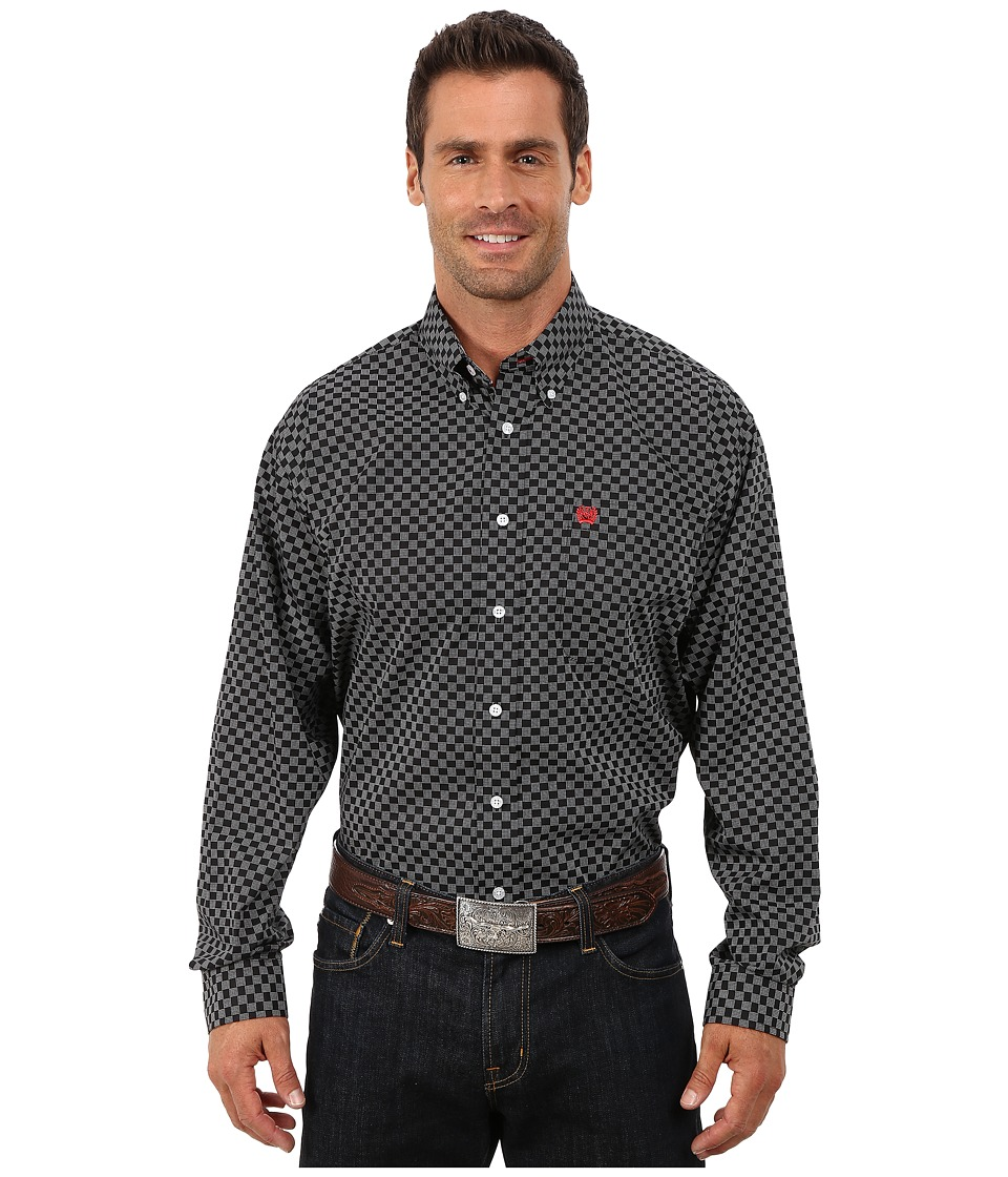 Cinch - Long Sleeve Plain Weave Print (Black 2) Men's Long Sleeve Button Up