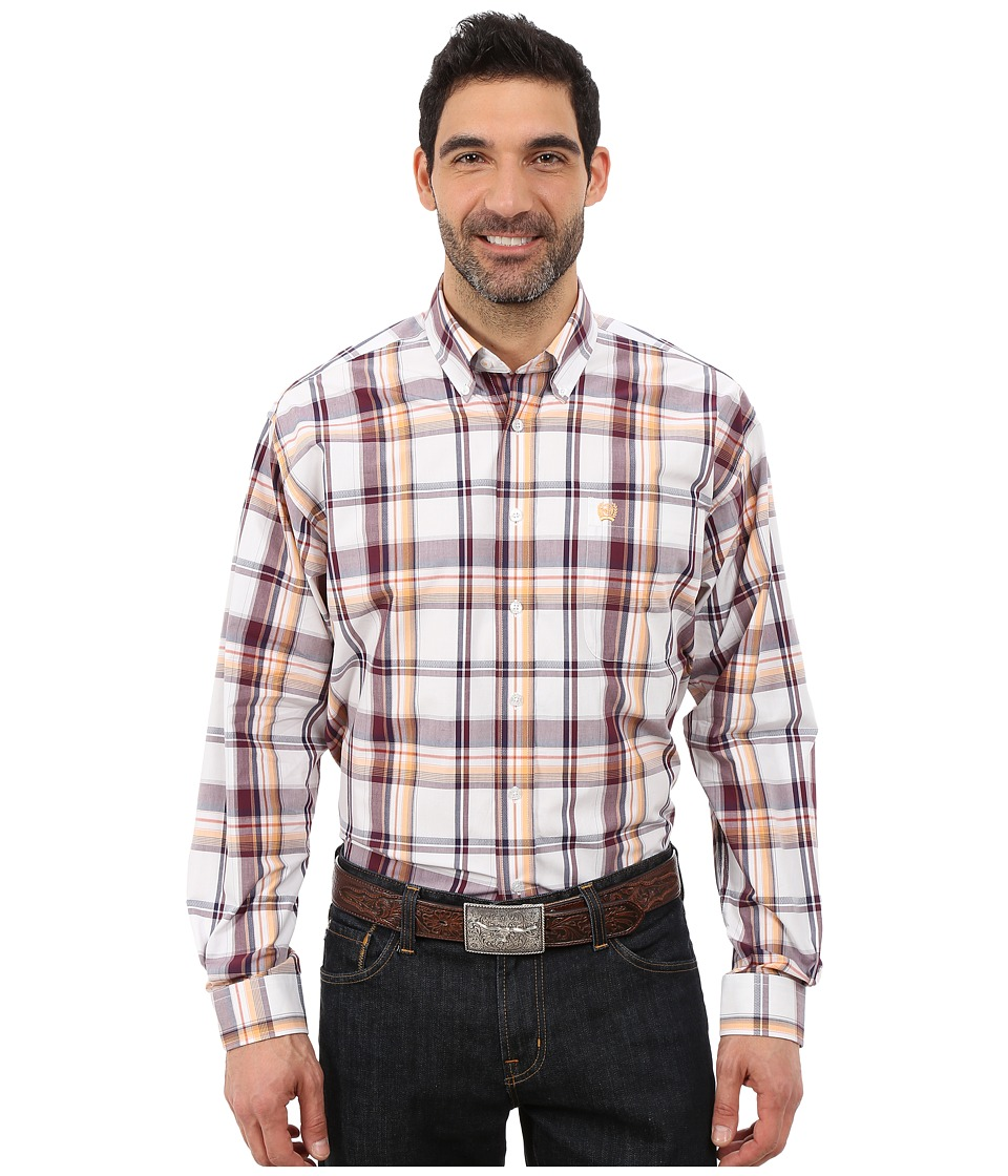 Cinch - Long Sleeve Plain Weave Plaid (White 5) Men's Long Sleeve Button Up
