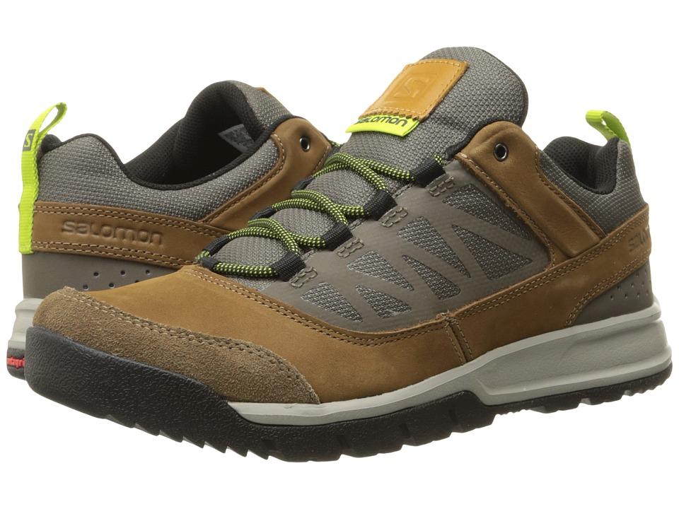 Salomon - Instinct Travel (Camel Leather/Swamp/Green Glow) Men's Shoes