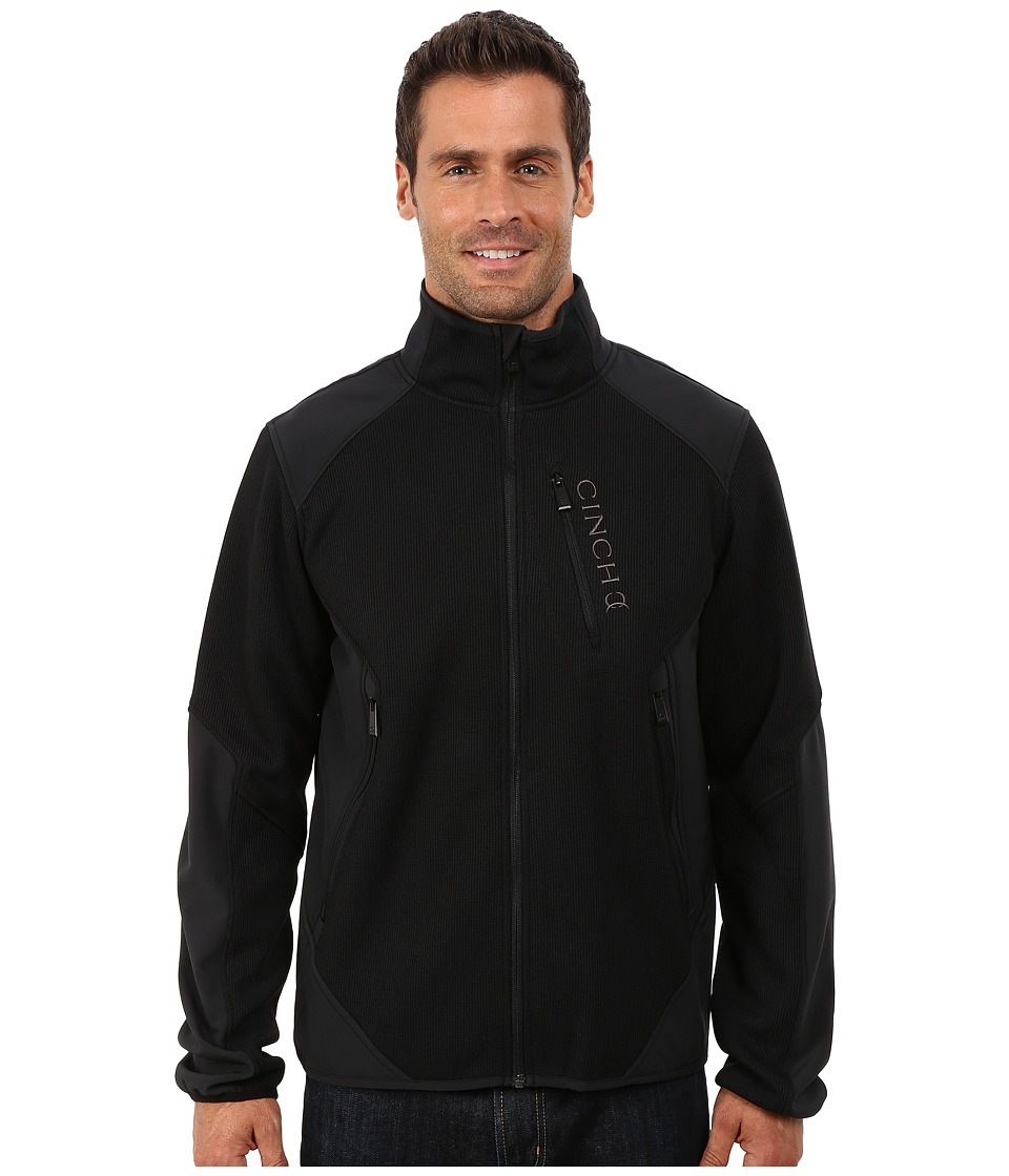 Cinch - Zip Front Bonded Sweater Jacket (Black 1) Men
