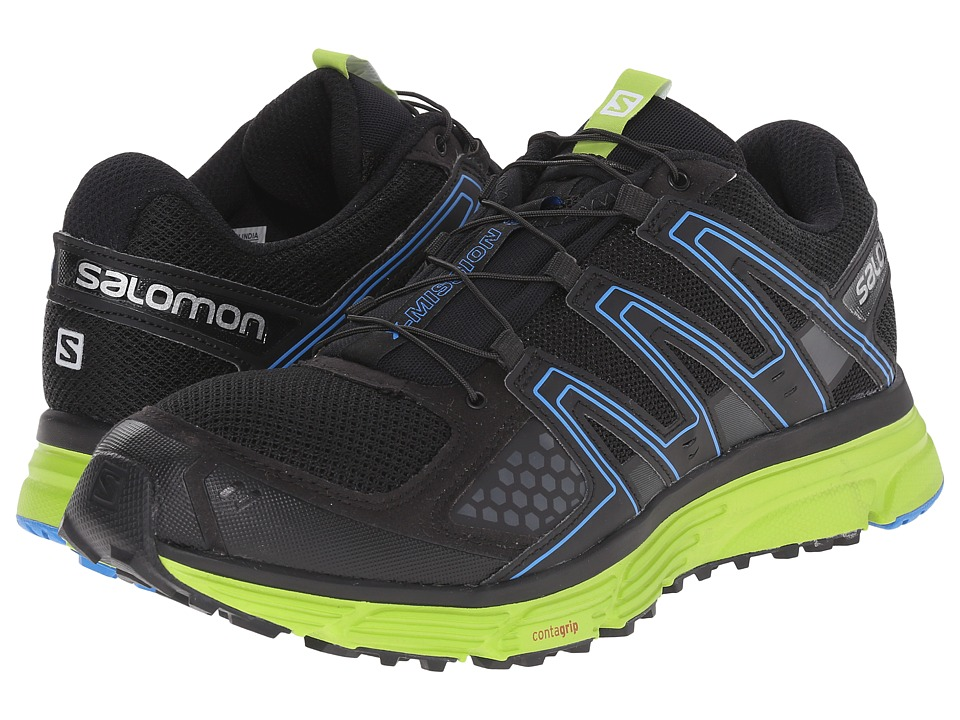 Salomon - X-Mission 3 (Black/Granny Green/Bright Blue) Men's Shoes