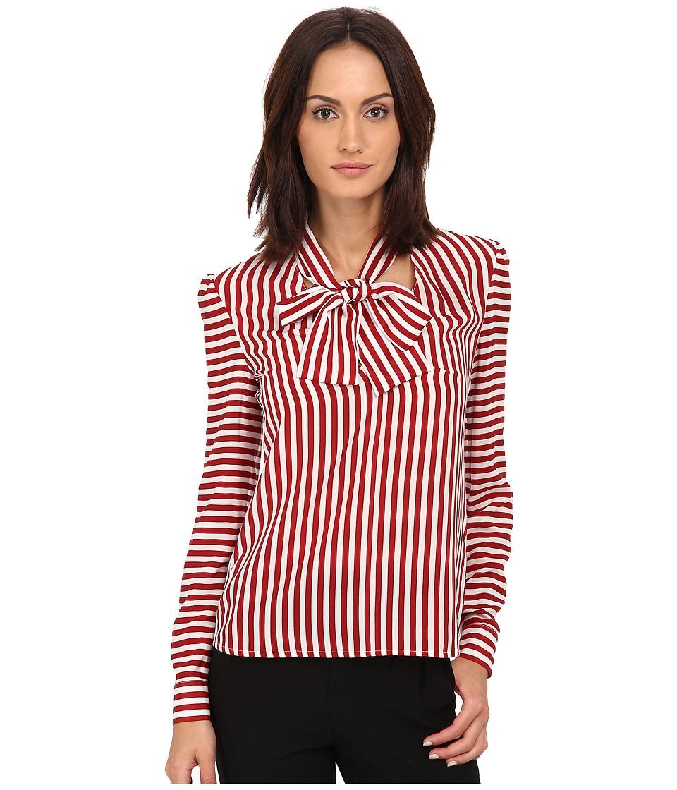 RED VALENTINO - Camicia Tie Blouse (Ciliegia) Women's Blouse