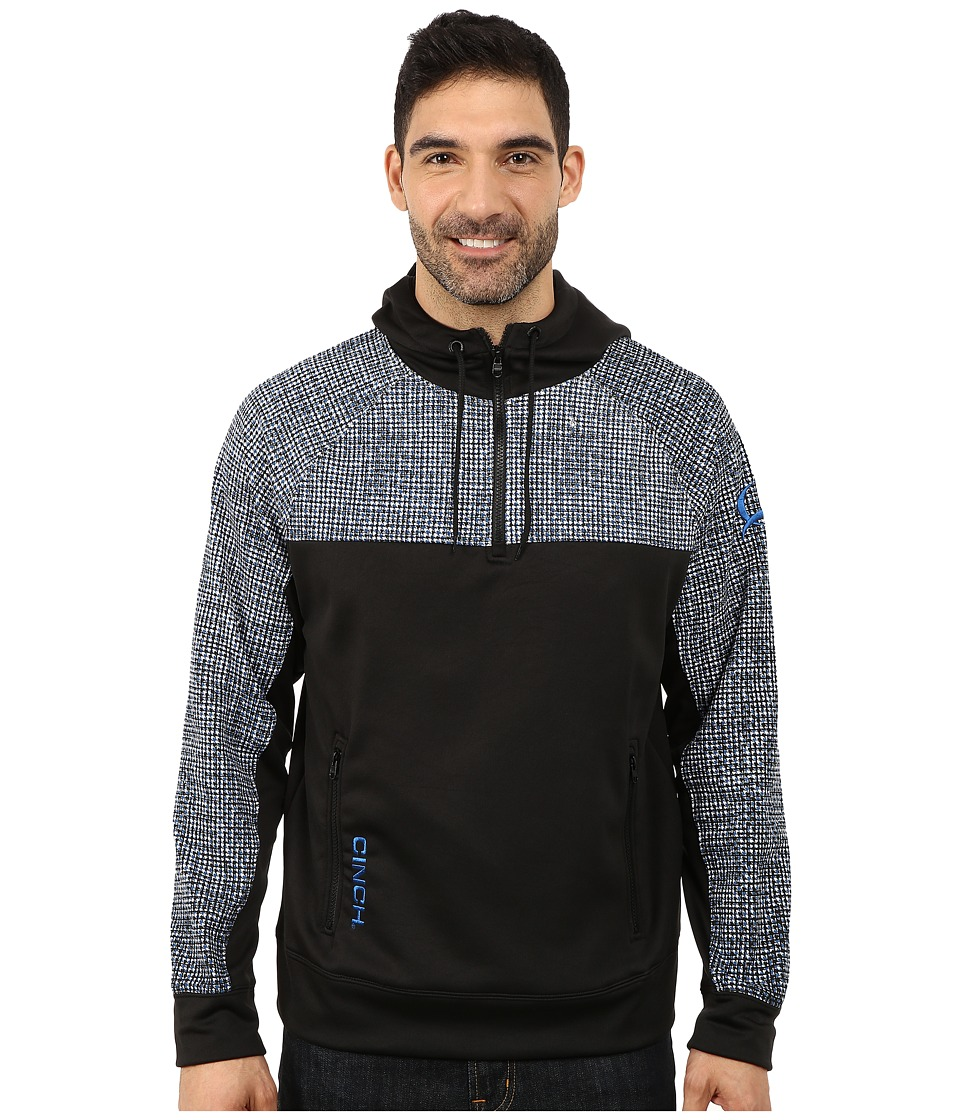 Cinch - 1/4 Zip Technical Hoodie Raglan (Black) Men's Sweatshirt