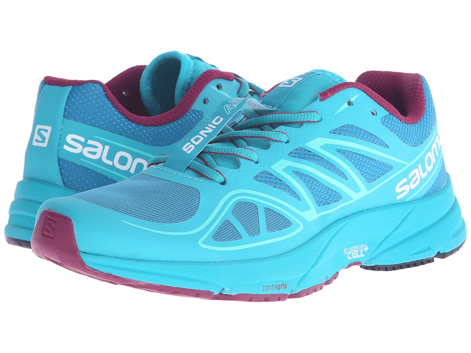 Salomon - Sonic Aero (Fog Blue/Teal Blue F/Mystic Purple) Women's Shoes