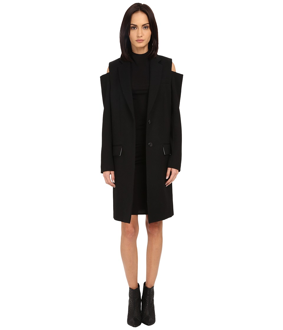 Vera Wang - Single-Breasted Reefer Coat (Black) Women's Coat