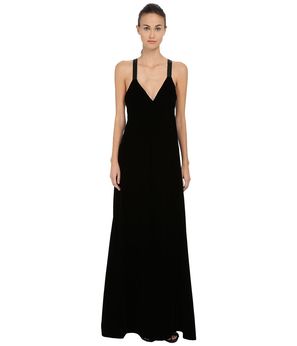 Vera Wang Plunging V-Neck Gown (Black) Women