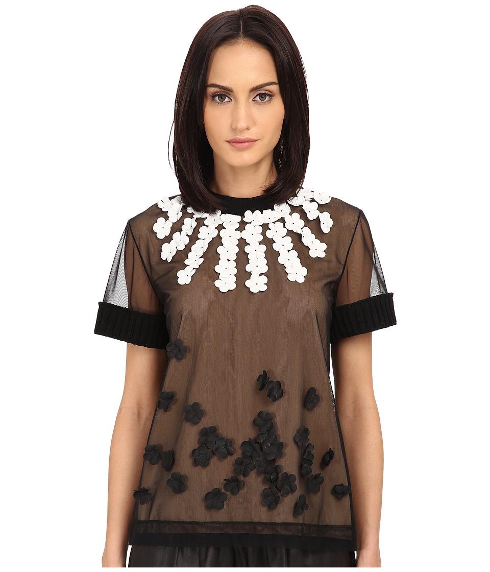 Vera Wang - T-Shirt w/ Heavy Ribbed Knit Trims (Black) Women's T Shirt