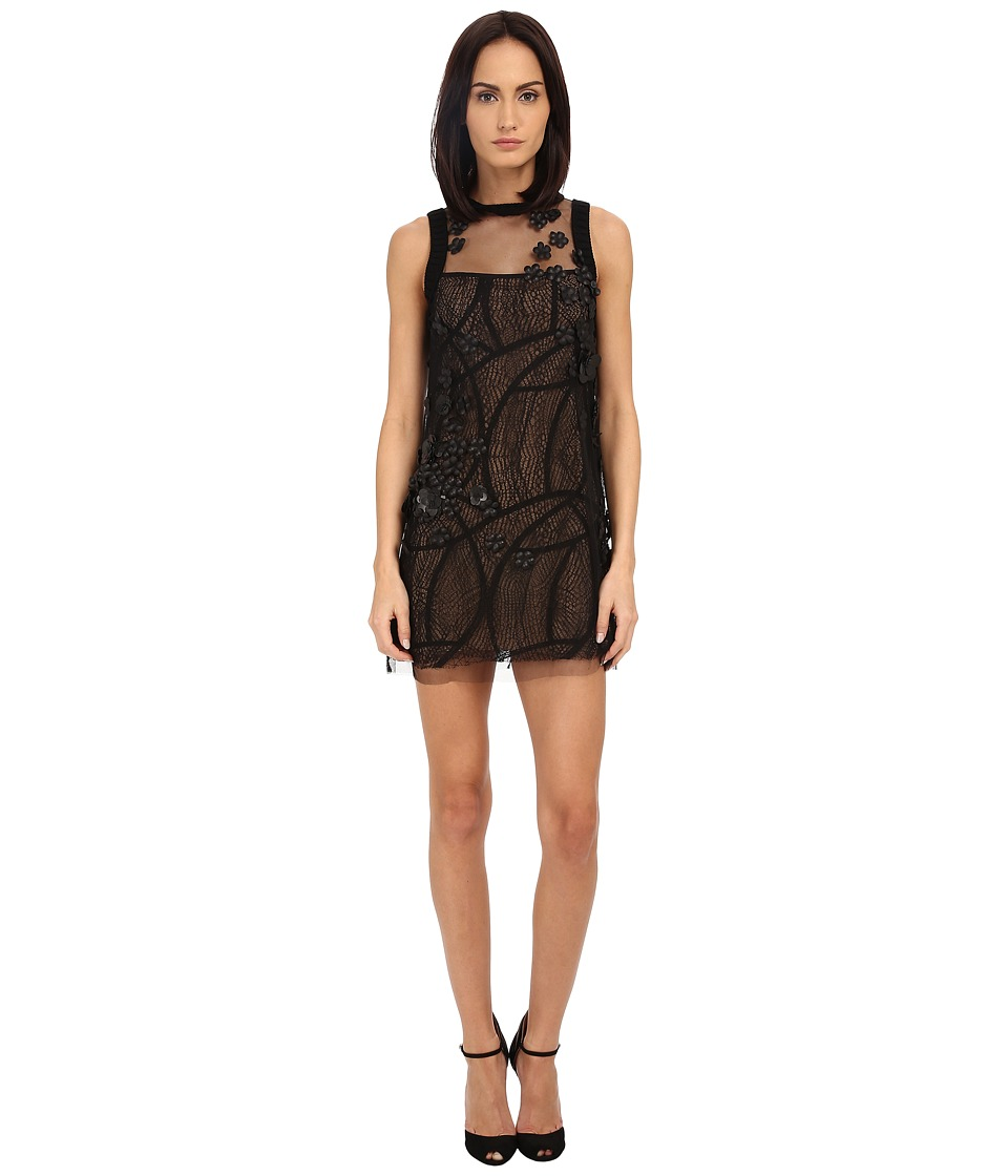 Vera Wang Shift Dress w/ Sleeveless Tulle (Black) Women