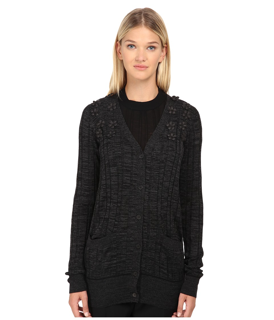 Vera Wang - Ribbed V-Neck Cardigan (Charcoal Melange) Women's Sweater
