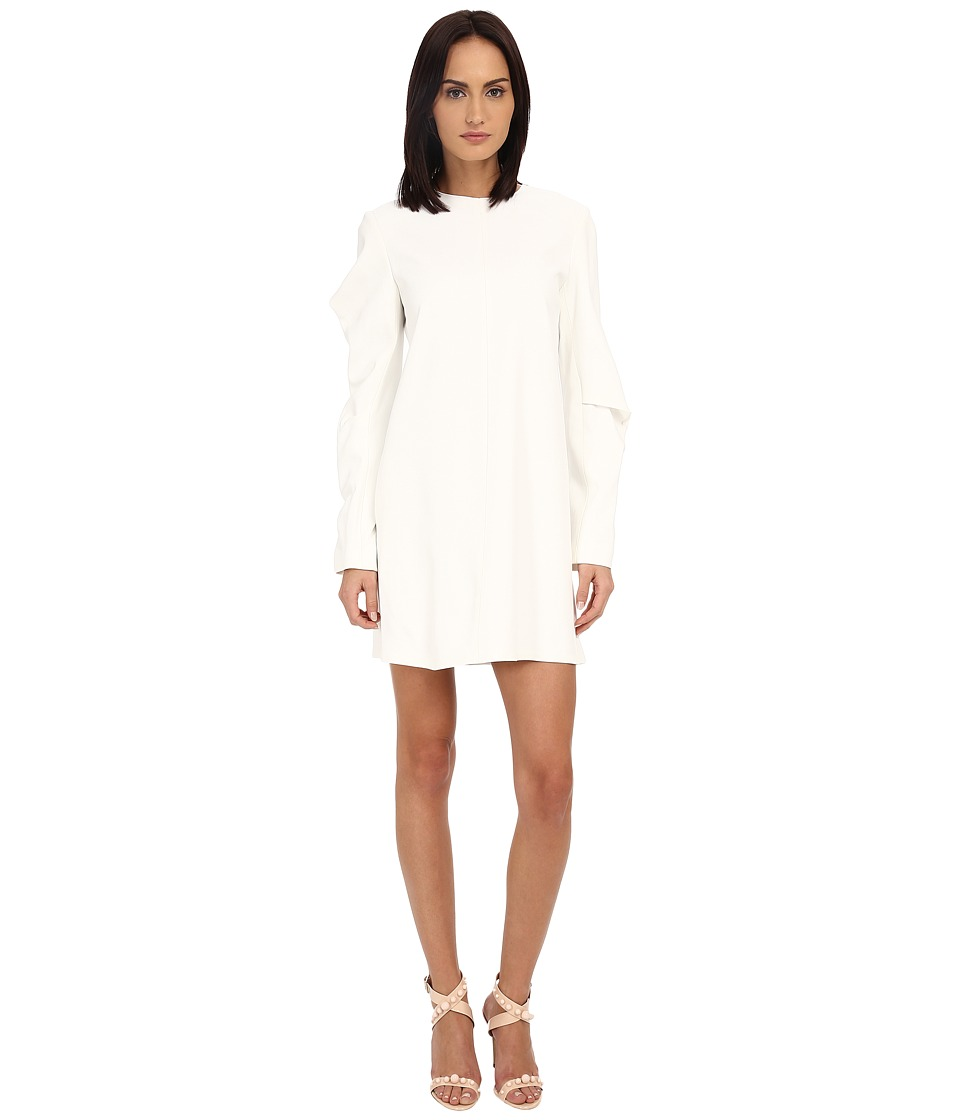 Vera Wang Shift Dress w/ Asymmetrical Sleeves (Heavy Crepe Ivory) Women