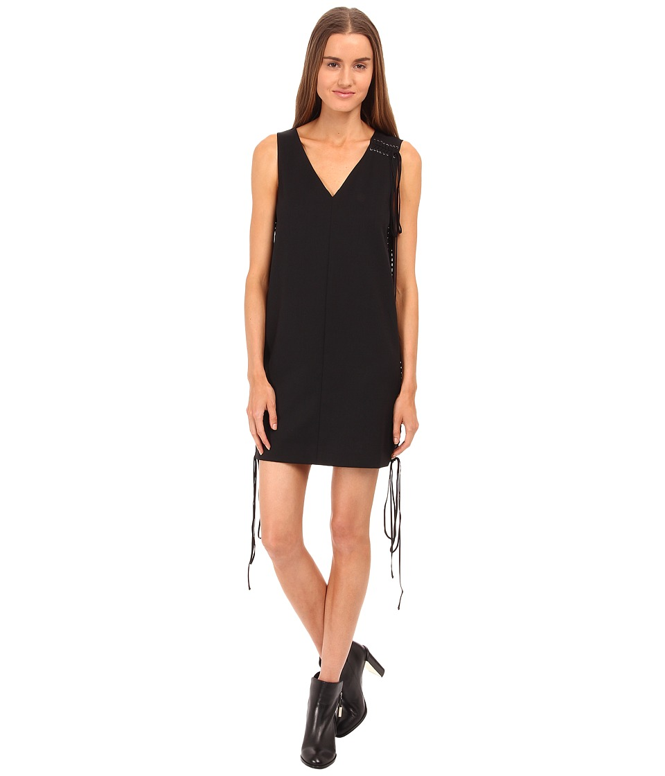 Vera Wang Tuxedo Lace Up Sleeveless Dress (Black) Women