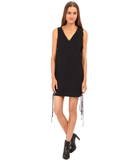 Vera Wang - Tuxedo Lace Up Sleeveless Dress (Black) Women's Dress
