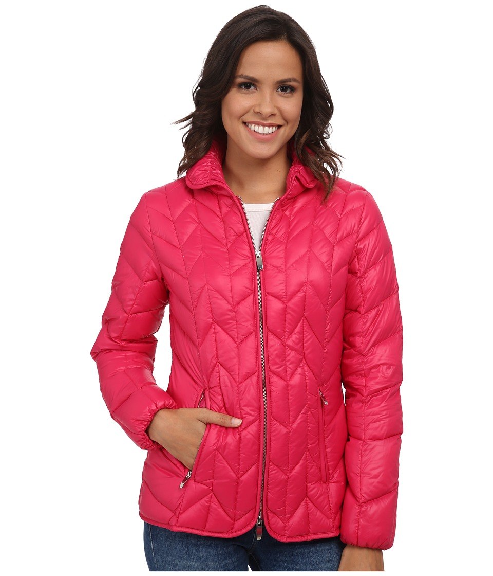 Via Spiga - Chevron Packable Down (Watermelon) Women's Coat