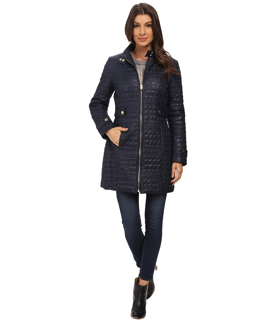Via Spiga - Crocodile Print Stand Collar Quilt Coat w/ Side Tabs (Navy) Women's Coat