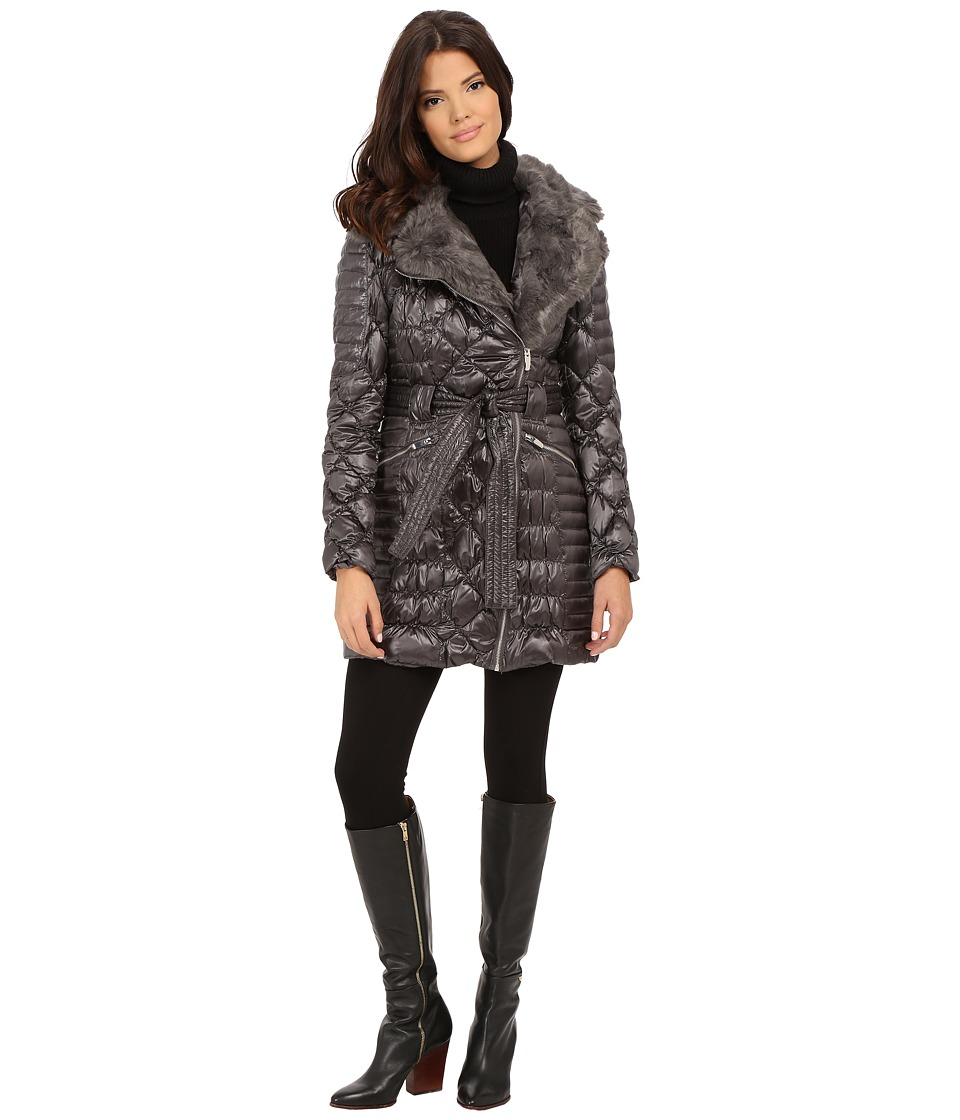 Via Spiga - Kate Middleton Down Coat w/ Faux Fur (Black) Women's Coat