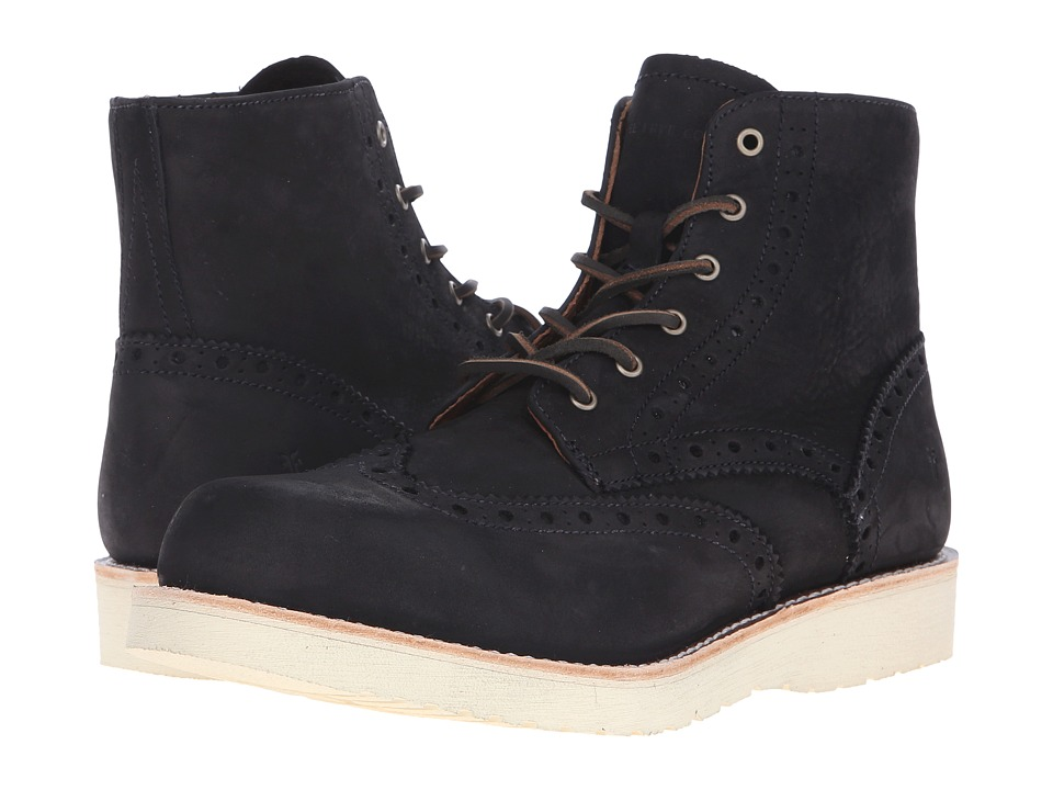 Frye Arkansas Wedge Wingtip (Black Soft Nubuck) Men