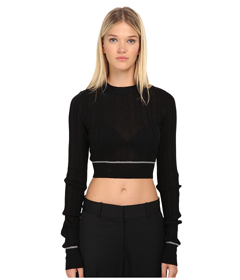 Vera Wang - Ribbed Longsleeve Cropped Pullover Top (Black) Women's Long Sleeve Pullover