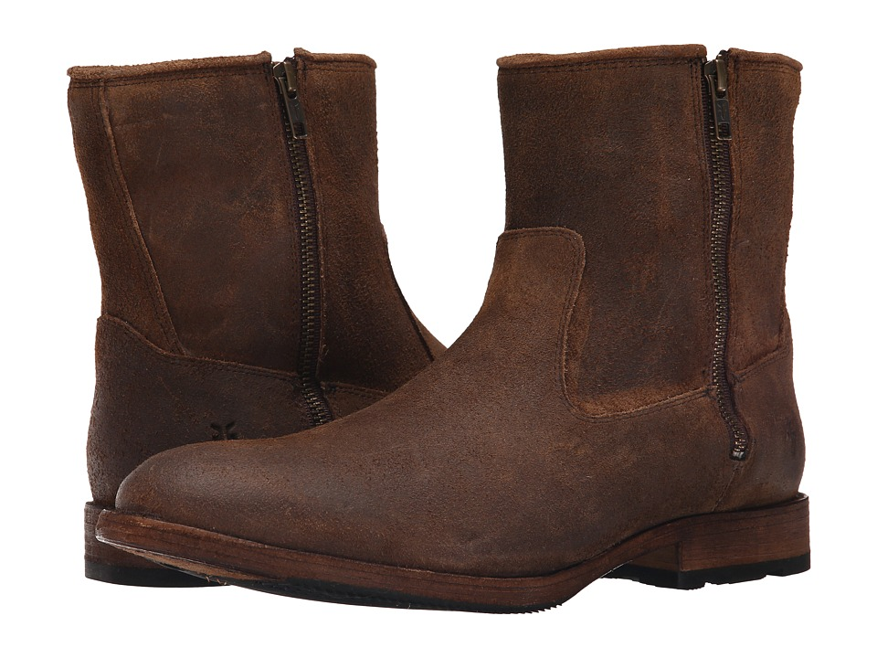 Frye Ethan Double Zip (Tan Waxed Suede) Men