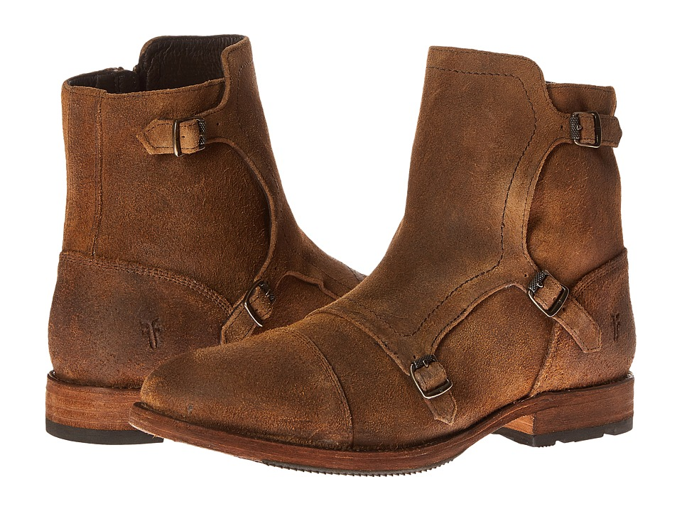 Frye - Ethan Triple Monk (Tan Waxed Suede) Men's Dress Pull-on Boots