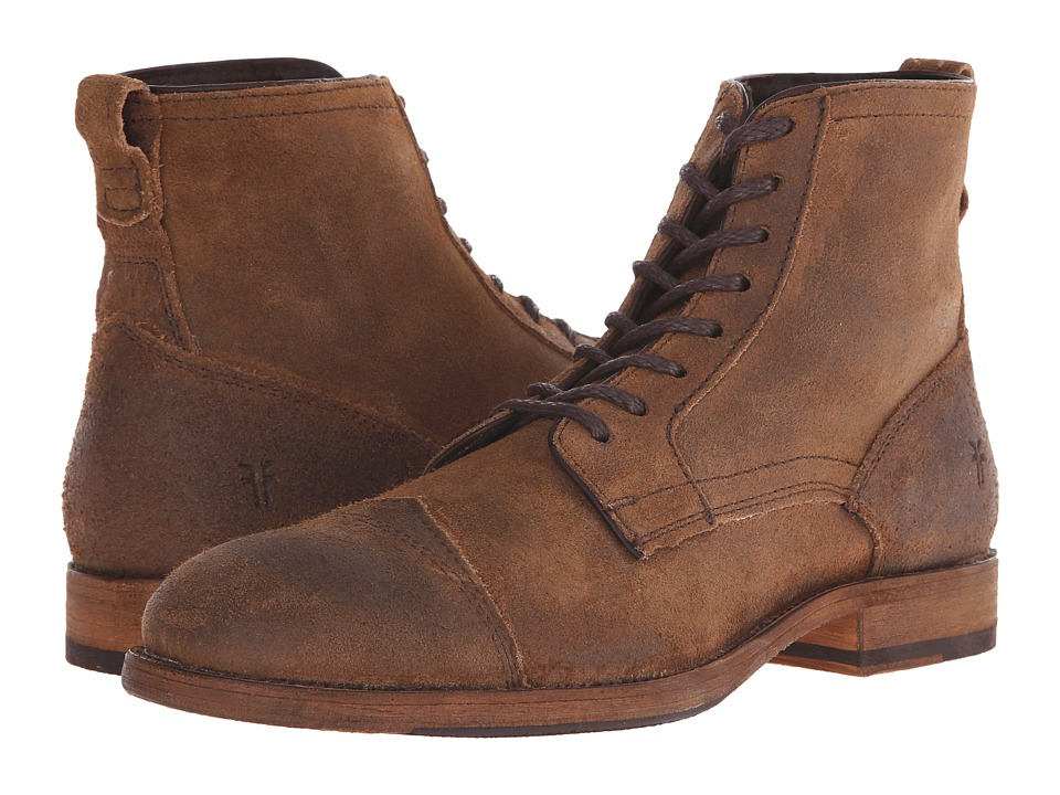 Frye - Everett Lace Up (Tan Waxed Suede) Men