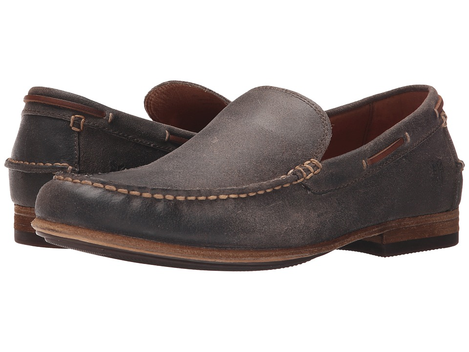 Frye - Henry Venetian (Charcoal Waxed Vintage Leather) Men's Slip on Shoes