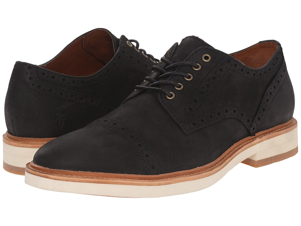 Frye - Joel Brogue Oxford (Black Soft Nubuck) Men's Shoes