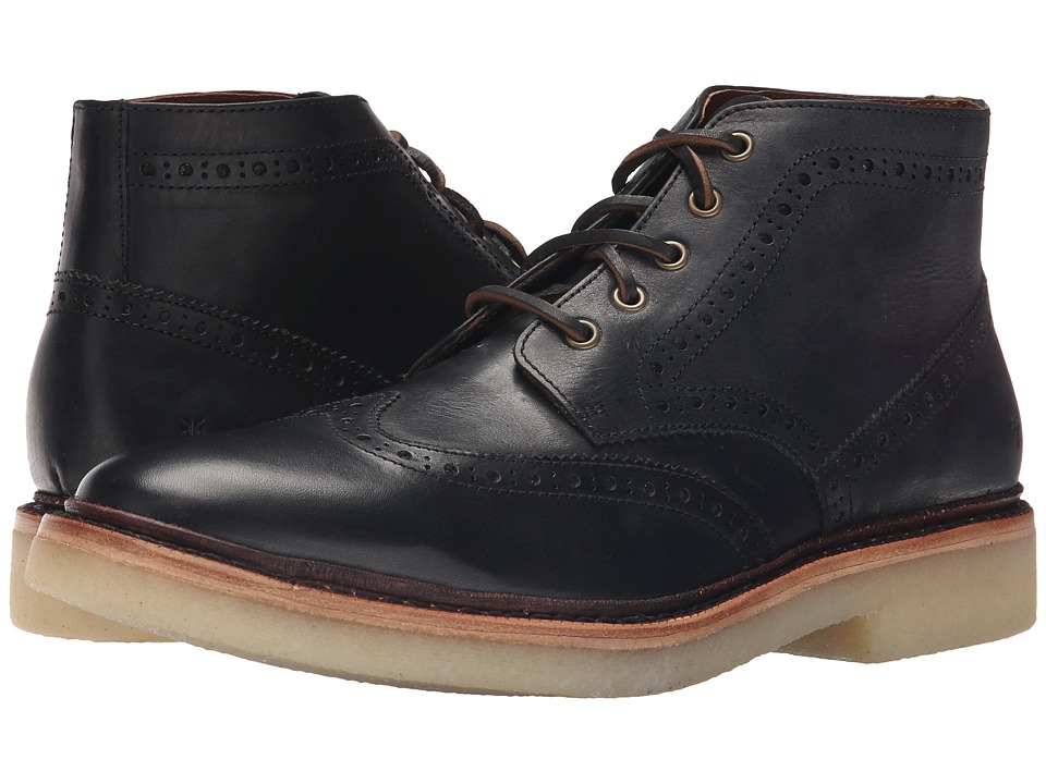 Frye Luke Wingtip Chukka (Black Vintage Veg Tan) Men