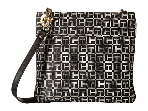Tommy Hilfiger - Audrey Crossbody Monogram Jacquard Bag (Black/White) Cross Body Handbags