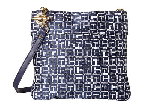 Tommy Hilfiger - Audrey Crossbody Monogram Jacquard Bag (Navy/White) Cross Body Handbags