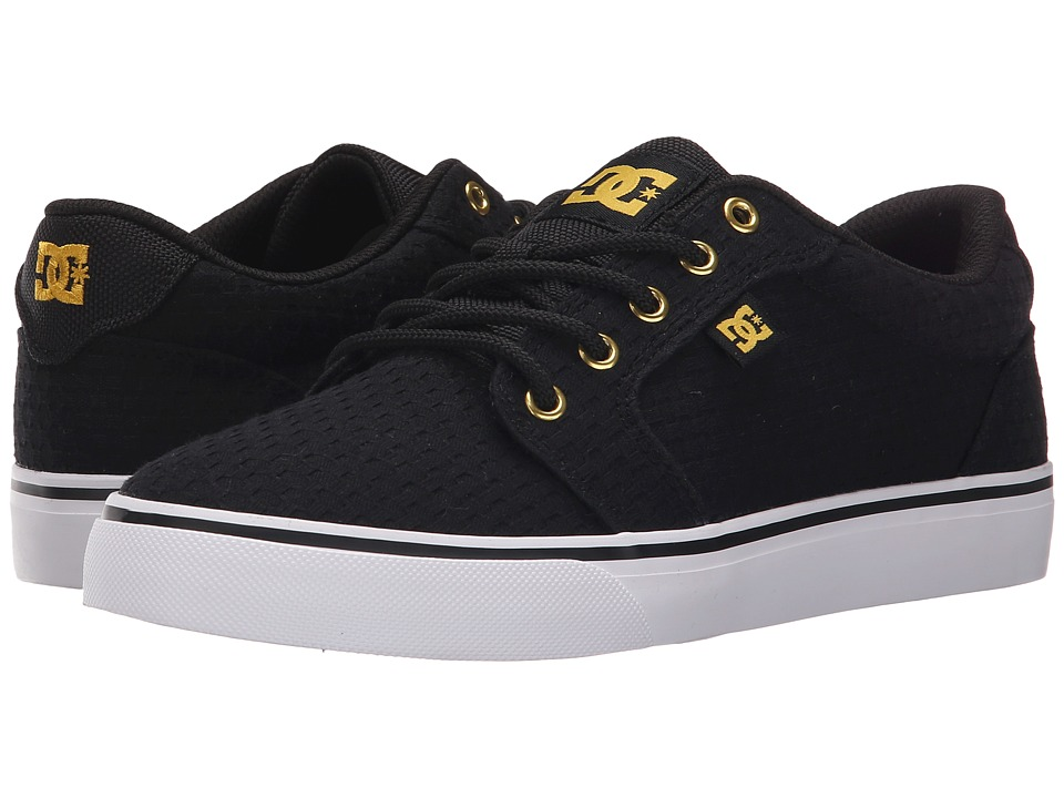 DC - Anvil TX SE (Black/White/Gold) Women's Skate Shoes