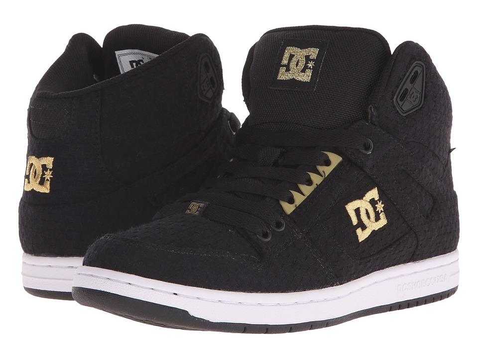 DC - Rebound High TX SE (Black/White/Gold) Women's Skate Shoes