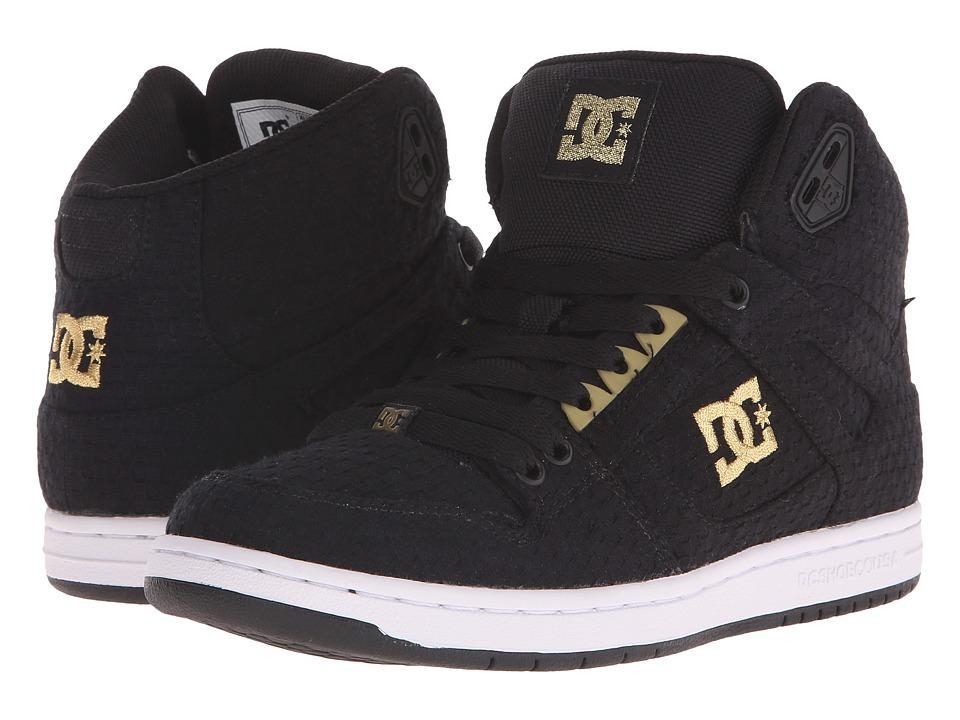 DC - Rebound High TX SE (Black/White/Gold) Women's Skate Shoes