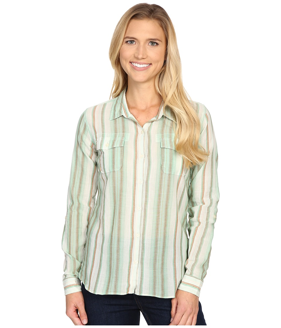 Toad&Co - Airbrush L/S Shirt (Green Awning Stripe) Women's Long Sleeve Button Up