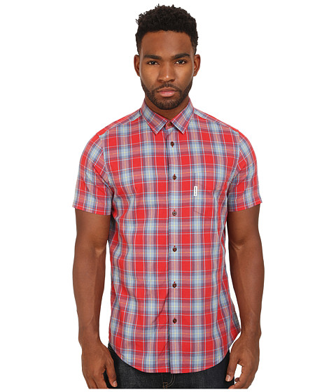 Ben Sherman - Marl Tartan Check S/S Shirt (Cranberry 1) Men's Short Sleeve Button Up