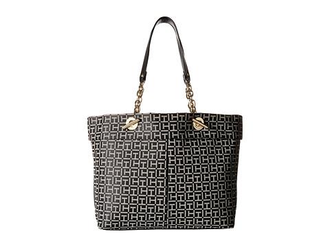 Tommy Hilfiger - Audrey Monogram Jacquard Tote (Black/White) Tote Handbags