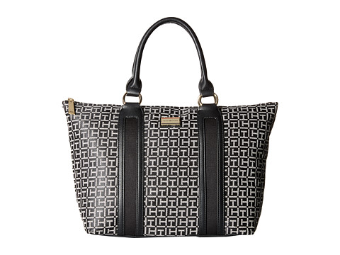 Tommy Hilfiger - Lyla Monogram Jacquard Tote (Black/White) Tote Handbags
