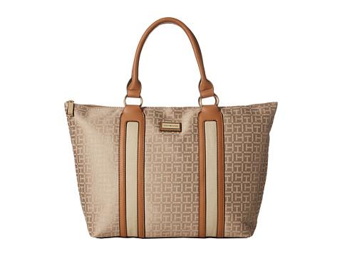 Tommy Hilfiger - Lyla Monogram Jacquard Tote (Khaki Tonal) Tote Handbags