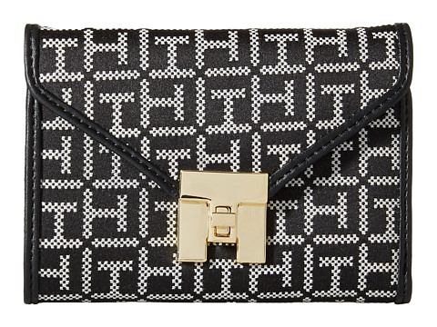 Tommy Hilfiger - Turnlock Monogram Jacquard Medium Flap Wallet (Black/White) Wallet Handbags