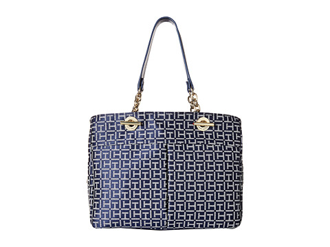 Tommy Hilfiger - Audrey Monogram Jacquard Shopper (Navy/White) Tote Handbags