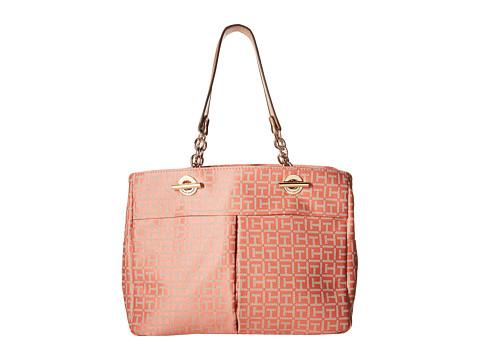 Tommy Hilfiger - Audrey Monogram Jacquard Shopper (Papaya/Multi) Tote Handbags