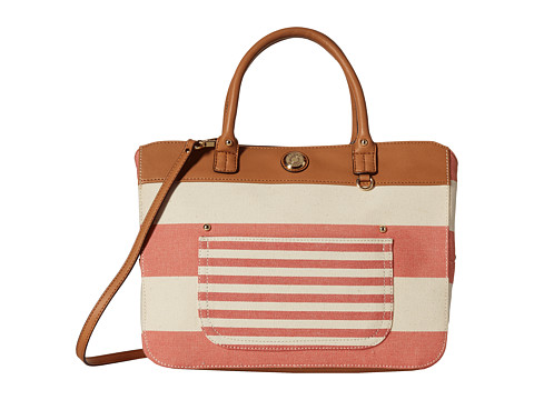 Tommy Hilfiger - Lexi Woven Rugby Stripe Convertible Shopper (Papaya/Natural) Tote Handbags