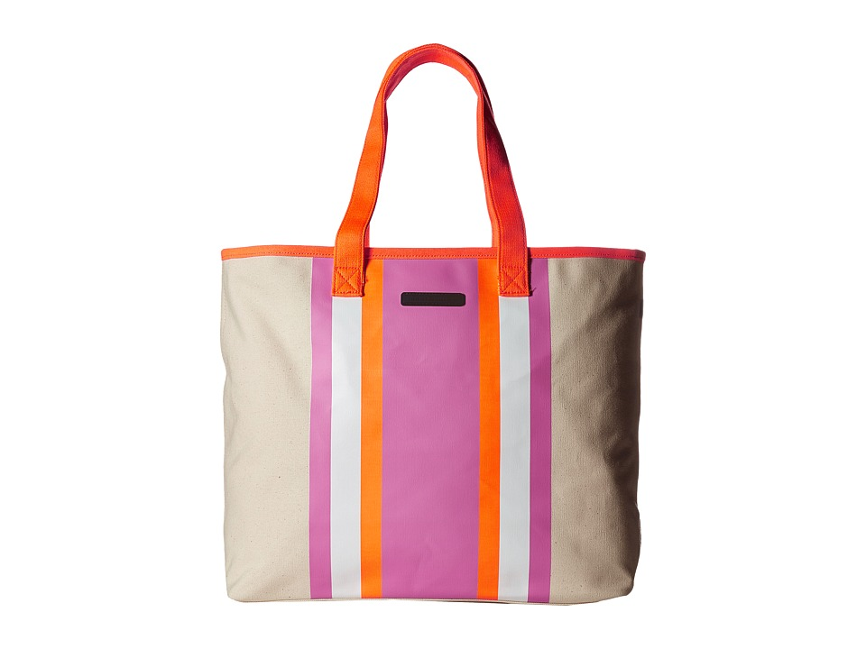 Tommy Hilfiger - Stripes Tote Canvas (Natural/Pink/Orange) Tote Handbags