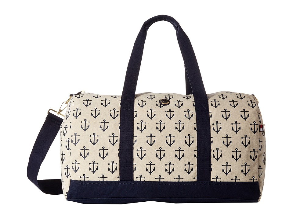 Tommy Hilfiger - Printed Canvas Medium Duffel (Natural/Navy) Duffel Bags