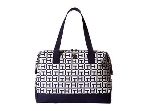 Tommy Hilfiger - Canvas Medium Signature Logo Weekender (White/Navy) Duffel Bags