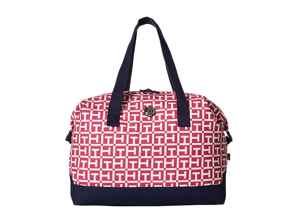 Tommy Hilfiger - Canvas Medium Signature Logo Weekender (Raspberry/White) Duffel Bags