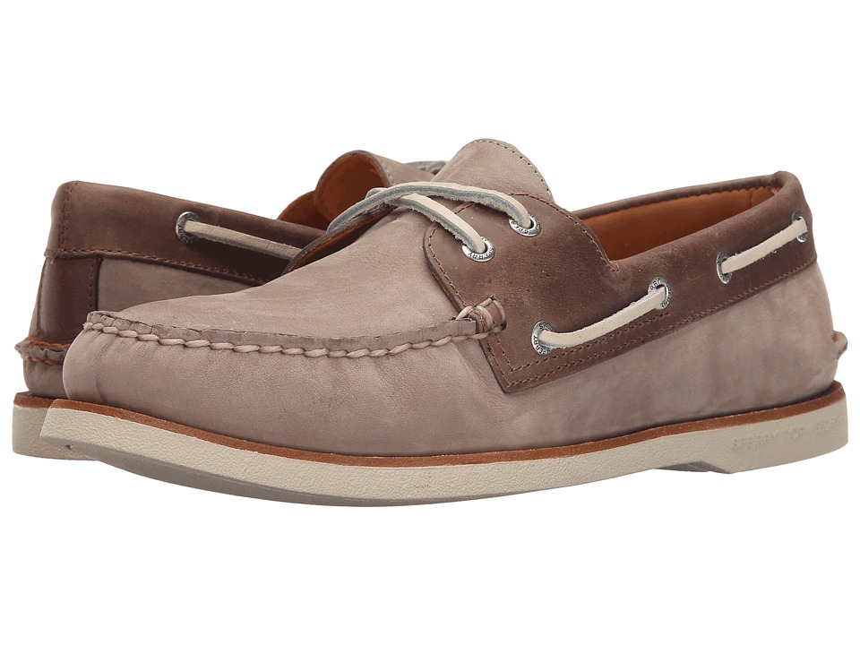 Sperry Top-Sider - Gold A/O 2-Eye Nubuck (Taupe/Brown) Men's Slip on Shoes