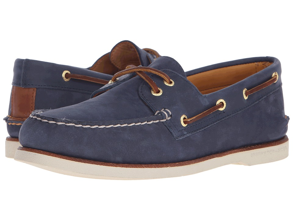 Sperry Top-Sider - Gold A/O 2-Eye Nubuck (Navy) Men's Slip on Shoes
