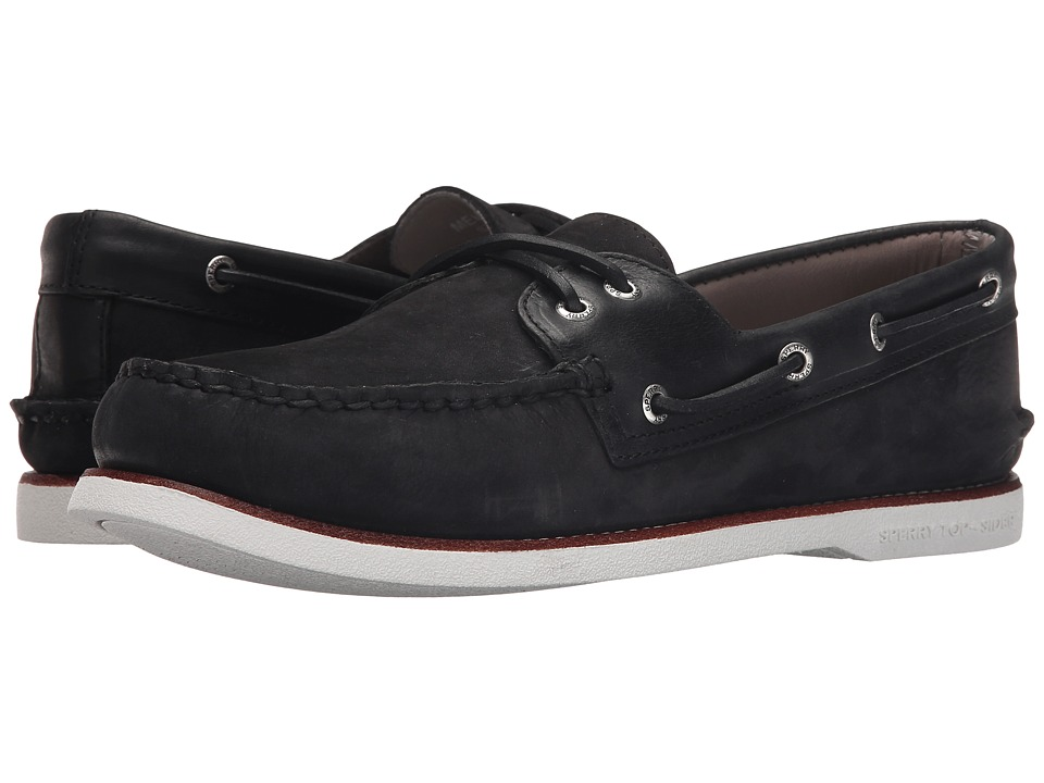 Sperry - Gold A/O 2-Eye Nubuck (Black) Men's Slip on Shoes