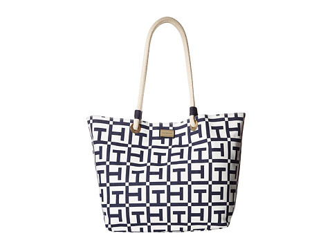Tommy Hilfiger - Large Signature Printed Canvas Rope Tote (White/Navy) Tote Handbags