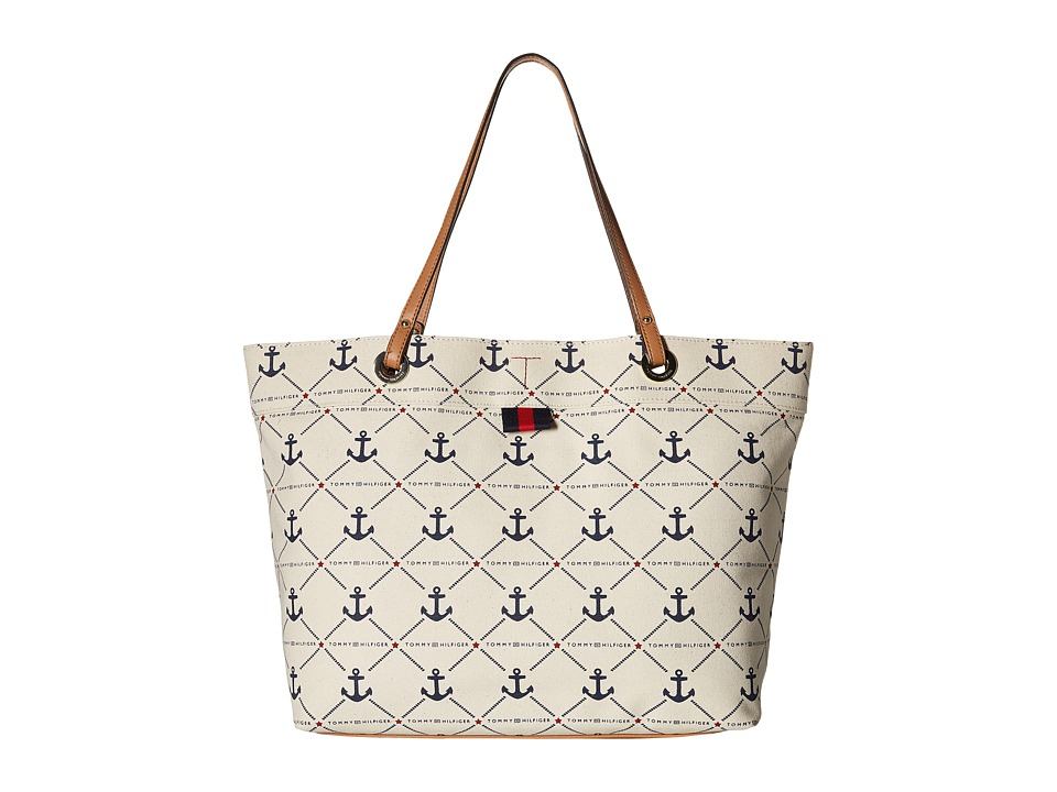Tommy Hilfiger - Canvas Diamond/Anchor Large Tote (Natural/Navy) Tote Handbags